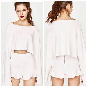 NWT Zara white high rise shorts ruffle trim